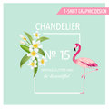 Tropical Flowers and Leaves. Flamingo Bird