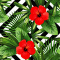 Tropical flowers and leaves pattern, black and white geometric b Royalty Free Stock Photo