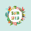 Tropical Flowers and Parrot Bird Background. Summer Design. T-shirt Fashion Graphic. Exotic.