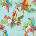 Tropical Flowers and Parrot Birds Seamless Background Royalty Free Stock Photo