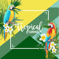 Tropical Flowers and Parrot Summer Banner, Graphic Background, Exotic Floral Invitation, Flyer or Card. Modern Front Page