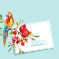 Tropical Flowers, Pomegranates and Parrot Bird Graphic Design