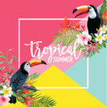 Tropical Flowers and Toucan Birds Summer Banner, Graphic Background, Exotic Floral Invitation, Flyer or Card. Modern Front Page Royalty Free Stock Photo