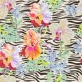 Tropical flowers on zebra print seamless fashion background Royalty Free Stock Images