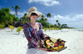 Tropical food on deserted tropical island young woman carry a of grilled fish fruits and vegetables dish served in aitutaki lagoon Stock Photo