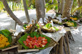 Tropical food served outdoor in aitutaki lagoon cook islands variety of fresh on pacific island Royalty Free Stock Photos