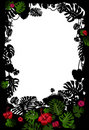 Tropical frame with flowers Royalty Free Stock Photography