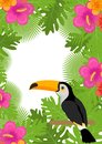 Tropical frame with flowers, plants and bird toucan. Summer floral template for your design. Exotic background. Vector Royalty Free Stock Photo