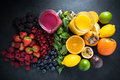 Tropical fruit and berries fruit smoothies Royalty Free Stock Photo