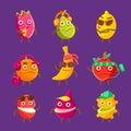 Tropical Fruit Cool Cartoon Ch...