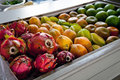 A tropical fruit display fruits to be prepared for juice Royalty Free Stock Image