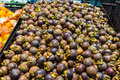 Tropical fruit famous mangosteen in basket of supermarket Royalty Free Stock Images