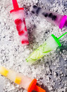 Tropical fruit ice lollipops Royalty Free Stock Photo
