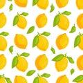 Tropical fruit lemons seamless pattern