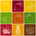Tropical Fruit Linear Icons Royalty Free Stock Photo