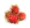 Tropical fruit rambutan with white background Stock Image