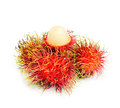 Tropical fruit rambutan with white background Royalty Free Stock Photos