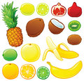 Tropical fruit set Royalty Free Stock Photography