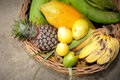 Tropical Fruits Basket Royalty Free Stock Photos