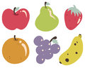 Tropical fruits collection vector illustrations of each illustration is grouped individually Royalty Free Stock Images