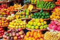 Tropical fruits on the famous market in Funchal, Madeira Island, Portugal. Exotic fruit. Banana, mango, passion fruit or avocado. Royalty Free Stock Photo