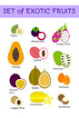 Tropical fruits flat icons