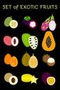 Tropical fruits icons set