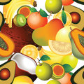 Tropical fruits pattern seamless background illustration with various Royalty Free Stock Photos