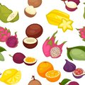 Tropical fruits set seamless pattern. Citrus lemon and orange