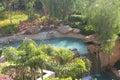 Tropical garden waterfall Royalty Free Stock Photo