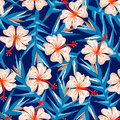 Tropical ginger embroidery floral design seamless pattern Royalty Free Stock Photo
