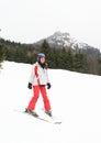 Tropical girl skiing Royalty Free Stock Photo