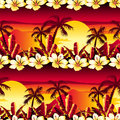 Tropical golden sunset with hibiscus flowers seamless pattern Royalty Free Stock Photo