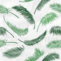 Tropical green palm tree leaves in seamless pattern. Vector pattern for print design, wallpaper, site backgrounds