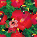 Tropical hibiscus flower bird style seamless pattern Royalty Free Stock Photo