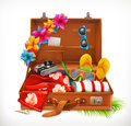 Tropical Holidays. Summer vacation, open suitcase. Vector icon