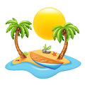 Tropical island with boat and palm trees. Vector illustration.