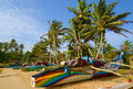 Tropical island fishing boats on the south coast of sri lanka with coconut trees golden sand and blue skies Stock Image