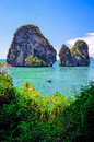 Tropical island and ocean landscape view in andaman sea with boat krabi thailand Royalty Free Stock Photography