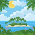 Tropical island with palm and flowers landscape sea trees sky clouds sun vector Royalty Free Stock Image
