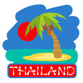 Tropical island with palm trees. Vector illustration icon for Thailand traveling.