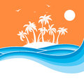 Tropical island with palms.Sea waves blue background illustratio