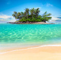 Tropical island and sand beach exotic travel background Royalty Free Stock Photo