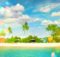 Tropical island sand beach with palm trees. Sunny blue sky with Royalty Free Stock Photo