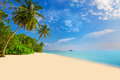 Tropical island with sandy beach, palm trees, overwater bungalow Royalty Free Stock Photo