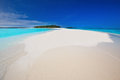 Tropical island with sandy beach with palm trees and tourquise clean water in maldives clear Royalty Free Stock Photos