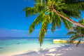 Tropical island with sandy beach, palm trees and tourquise clear water Royalty Free Stock Photo