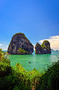 Tropical island and sea landscape view in andaman sea with boat krabi thailand Stock Photography