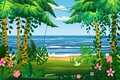 Tropical island sea ocean exotic jungle, palm trees flora, flowers, beach, surf, landscape. Vector, isolated cartoon Royalty Free Stock Photo