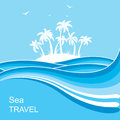 Tropical island.Sea waves blue background illustration